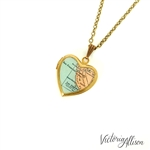 Small California Coast Map Necklace on Small Vintage Heart Locket - Antique Map Jewelry