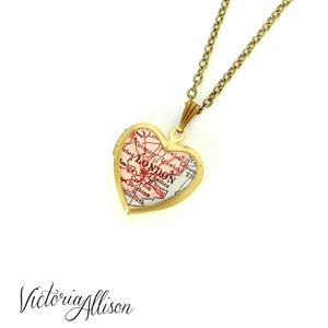 Small London Map Necklace on Vintage Heart Locket - Antique Map Jewelry