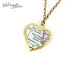 Small San Diego Map Necklace on Vintage Heart Locket - California Antique Map Jewelry