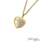 Small San Francisco Map Necklace on Vintage Heart Locket - California Antique Map Jewelry