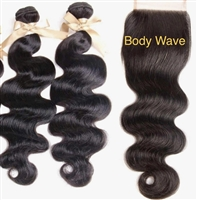 Brazilian Body Wave 4x4 Lace Closure with Bundles