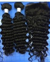 Brazilian Deep Wave 4x4 Lace Closure with Bundles