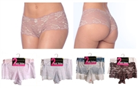 Wholesale Women's Stretch Lace Boy Short Panties