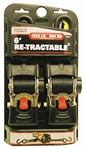 "RETRACTABLE RATCHETING TIE DOWN STRAPS - 2"" X 6FT"