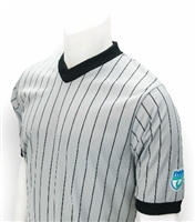 "FHSAA Basketball Sublimated Smitty ""Elite"" Interlock Performance Gray w/Black Pinstripe V-Neck Shirt"