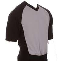 "Smitty's Performance Mesh Solid Gray w/Black Raglan Sleeve and 3"" Side Panel V-Neck Shirt"