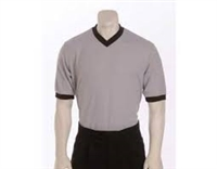 Smitty's Performance Mesh Solid Gray w/Black Trim V-Neck Shirt