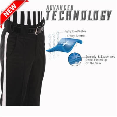 "SMITTY REFEREE ""4-WAY STRETCH PANTS"" WITH 1 1/4 WHITE STRIPE"