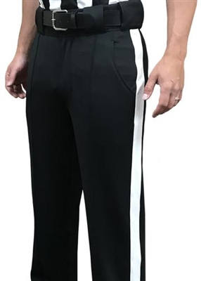 "SMITTY REFEREE ""TAPERED FIT 4-WAY STRETCH PANTS"" WITH 1 1/4 WHITE STRIPE"