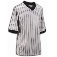 Smitty's Performance Mesh Gray W/Black Pinstripe V-Neck Shirt
