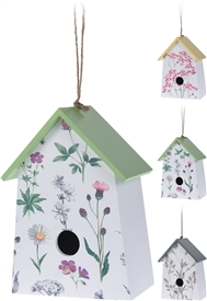 Floral Bird House 3 Assorted