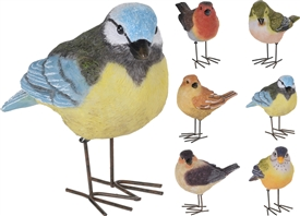 Colourful Bird With Metal Legs 10cm 6 Assorted