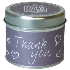 Wax & Wild Candle in Tin - Thank You