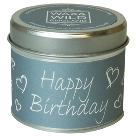 Wax & Wild Candle in Tin - Happy Birthday