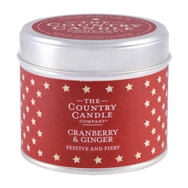 Stars Candle in Tin - Cranberry & Ginger