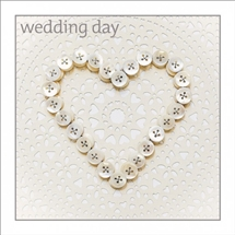 Wedding Button Heart Card 16cm