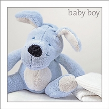 New Baby Boy Blue Rabbit Card 16cm