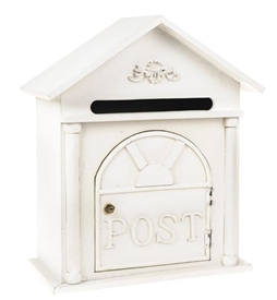 White Wooden House Post Box 40cm