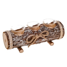 Log Triple Tealight Holder