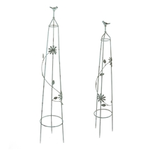 Set Of 2 Ornate Pyramid Garden Stakes
