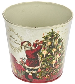 White Santa Metal Planter Small