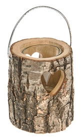 Alpine Heart Log Candle Holder 10cm