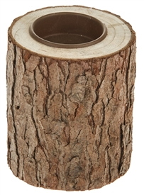 Small Rustic Round Solid Log Tealight Holder