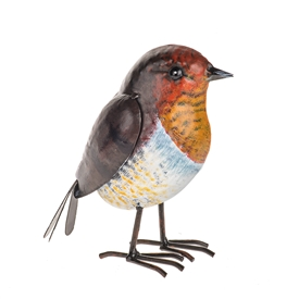 DUE JAN Metal Robin Ornament