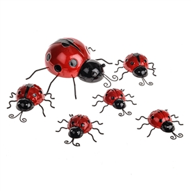 Set Of 6 Ladybug Family Metal Decoration