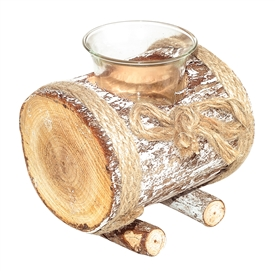 Log Tealight Holder 11cm