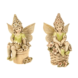 Fairy Sitting On Pot Ornament 2 Assorted 27cm