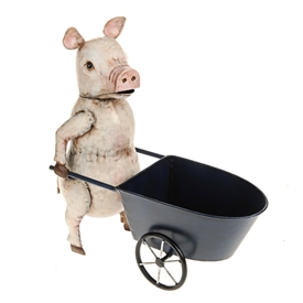 Farmyard Pig With Wheelbarrow 35cm