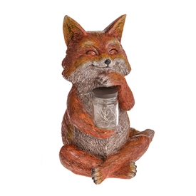 DUE JAN Country Living Fox With Solar Jar