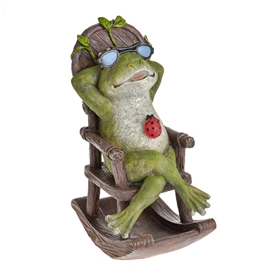 DUE JAN Country Living Frog With Solar Rocking Chair