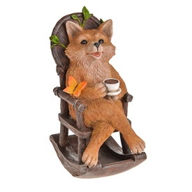 DUE JAN Country Living Fox With Solar Rocking Chair