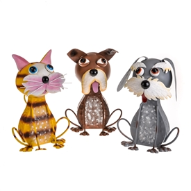 DUE JAN Metal Garden Pets 3 Assorted 32cm