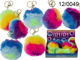 Multicoloured Rainbow Pom Pom With Sound  10cm