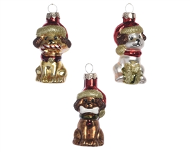 Glass Dog Baubles 3 Assorted SOLD IN 36s