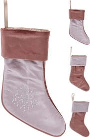 Velvet Christmas Stocking 45cm 3 Assorted