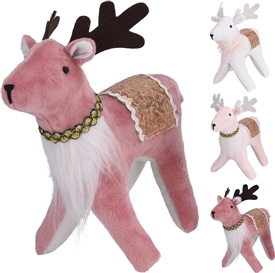 Plush Velvet Reindeer 3 Assorted 16cm