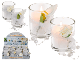 Scented Candle With Flower Decor 2 Assorted 6cm