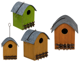 Wooden Bird House With Fence 3 Assorted 15cm