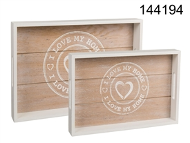Set Of 2 Wooden Trays Love My Home 35cm