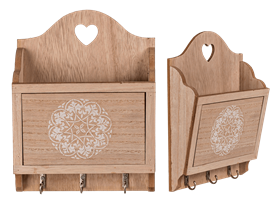 Wooden Storage Tray With Key Hooks.  20Cm