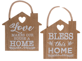 Hanging House Shape Plaque 2 Assorted 17cm