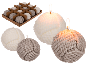 Ball Rope Candle 2 Assorted 7cm