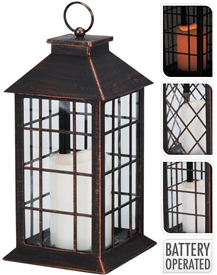 Copper Lantern With LED Candle Inside 28cm