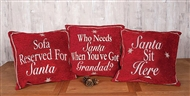 Red Christmas Text Cushions