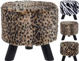 Animal Fur Design Stool 3 Assorted 28cm