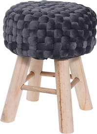 Plush Velvet Stool Grey 39cm